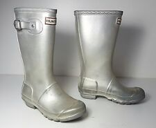 size 4 Hunter Original YNGORG Silver Rubber Rain Boots Womens Shoes