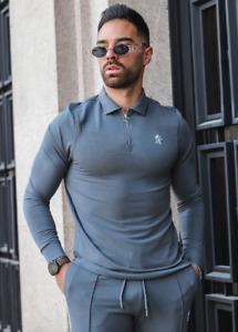 Mens Gym King Designer Grey Jersey Long Sleeve Zip Shirt Collared Top Fashion