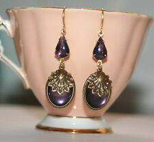 Vintage deco set Purple glitter glass nouveau shell scroll artisan earrings