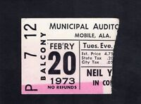 1973 Neil Young concert ticket stub Mobile Alabama Harvest Time Fades