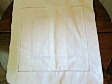 "White linen running cut work trim 16"" square pillow sham"
