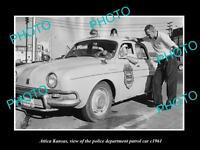 OLD LARGE HISTORIC PHOTO OF ATTICA KANSAS, THE POLICE PATROL CAR c1961