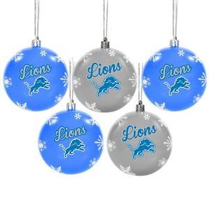 Detroit Lions Shatterproof BALLS Christmas Tree Holiday Ornaments Set 5 pack