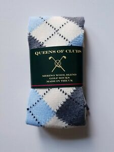 "Merino Wool Blend Golf Socks  size 6-9  woman ""Scottish Snowdrop"""