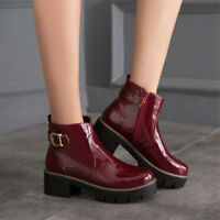 Womens Patent Leather Ankle Boots Round Toe Chunky Heels Buckle Shoes Side Zip