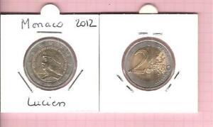 2 euros commemorative monaco UNC 2012 lucien UNC neuve rare et recherchee