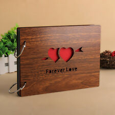 """DIY 30Pages 8"""" 22 x 16cm Wood Cover 2 Rings Photo Album Scrapbook FOREVER LOVE"""
