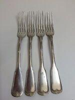 "Vintage Set of 4 Wiskemann 60 Silverplate Heavy Dinner Forks, 7 3/4"" Long"