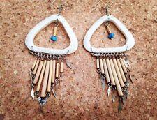 Cream Bone Hoop Earrings with Bamboo Drops & Turquoise Beads Handmade in Peru
