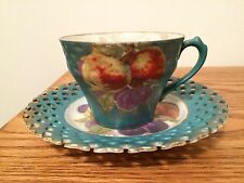 Royal Halsey Hand Painted Fruit Tea Cup & Reticulated Saucer