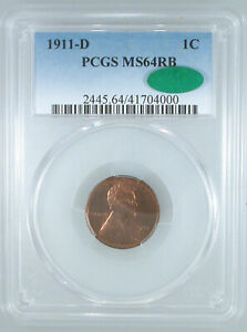 1911-D Lincoln Cent MS-64 RB PCGS/CAC Certified