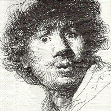 3x rare napkin Rembrandt/Self-portrait with beret for collection / decoupage