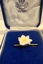 Aynsley China Yellow Flower Pin Brooch Boxed Gitf Vintage Collectable Original