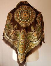"vintage PAISLEY FLORAL FOLK pure wool scarf  29"""