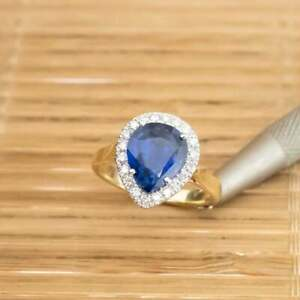 1.65 Ct Pear Sapphire Diamond Engagement Ring 14K Real Yellow Gold Size M N