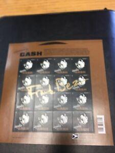 Johnny Cash USPS Stamp Sheetlet. Signed By Stamp Designer, Frank Beez.