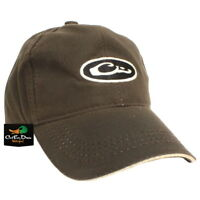 DRAKE WATERFOWL SYSTEMS WATERPROOF WAXED CANVAS HAT CAP OVAL LOGO BROWN