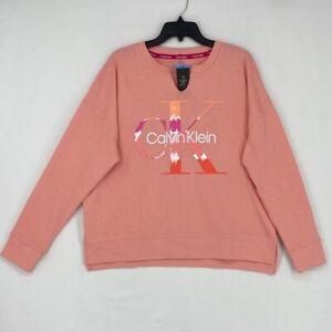 NWT Womens Peach Calvin Klein Pullover Big Logo Sweatshirt Size L Large
