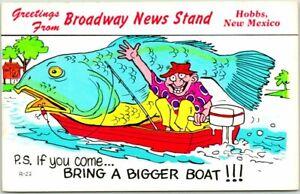 "HOBBS, New Mexico Fishing Comic Postcard ""BROADWAY NEWS STAND"" Roadside c1960s"