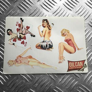 Pinup girls retro vintage sticker set - hotrod - vw pin ups