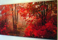 """AUTUMN LEAVES CANVAS WALL ART PICTURE LARGE 18"""" X 32"""" INCH"""