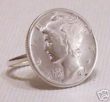Sterling Silver Handmade Mercury Dime,Coin Ring Al Sizes,Metal, No Stone,