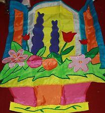 28x44 Spring Summer Garden Flowers Window Open Applique Large Flag