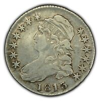 1813 50c Capped Bust Half Dollar - Die Cracks - VF/XF Coin - SKU-X1149