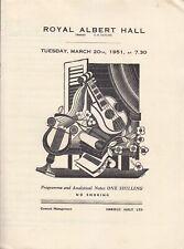 Concert Programme 1951 Wilhelm Backhaus Josef Krips Beethoven Piano 5 RAH LSO