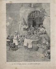 Stampa antica NAPOLI il marruzzaro venditore di lumache 1887 Old antique print