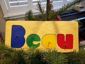 "Vintage ""Beau"" Handmade Wood Children's Name Puzzle, c. 1978"