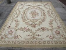 Old Hand Made French Design Wool 10x8 Cream Green Original Aubusson 312X244cm
