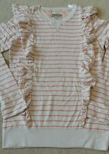 Little Joule beige stripe jumper with frill details. Size 11-12 years. Brand New