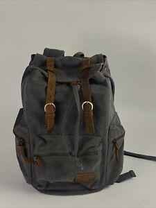 Berchirly Vintage Casual Canvas Leather Backpack Rucksack Travel Bookbag Satchel