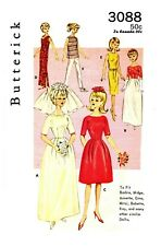 Vintage Butterick Barbie Doll Clothes Fabric Sewing pattern #3088