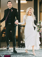 Modest Ivory Mermaid Long Sleeves Wedding Dress Lace Bridal Gowns 2 4 6 8 10 12+
