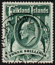 Falkland Islands 1907 3s. deep green, used (SG 49b)