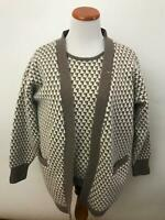 PRINGLE of SCOTLAND beige ivory houndstooth Twinset Cardigan Women's M