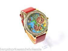 Reloj Pulsera Aerosol Rojo Y Oro Rosa Flor Diamante Brillante de Cuero Moda