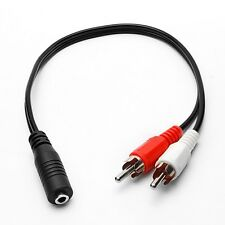3.5mm 1/8 Stereo Female Mini Jack to 2 Male RCA Plug Adapter Audio Y Cable Black