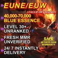 EUW EUNE Level 30 League of Legends LOL account 40.000-70.000 BE Unranked Smurf