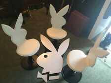Vintage PLAYBOY BUNNY Leather Swivel 4 Chairs And Table Original 1970s Man Cave