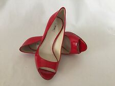 Miu Miu Red Patent Leather Peep Toe Pump Wood Heel Sz 36