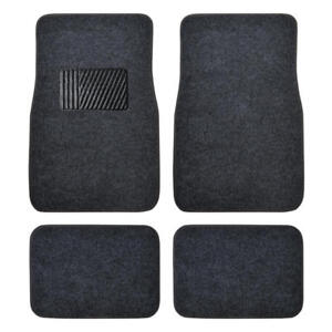 Car Floor Mats 4 Piece Set Carpet Floor Protection w/ Comfy Heel Pad - Dark Gray