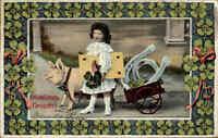 NEUJAHR 1912 Kind Hufeisen und Glücksschwein, AK gelaufen nach Bretnig-Hauswalde