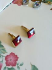 Vintage Swank Gold Cufflinks Red Simlated Ruby Square