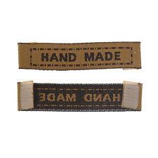 """HS: 100 Gewebtes Etikett Scrapbooking Handwerk Rechteck Braun""""Hand Made""""45x10mm"""