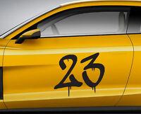 RACE NUMBERS graffiti 03. Custom car vinyl door sticker. Track trails transfer.