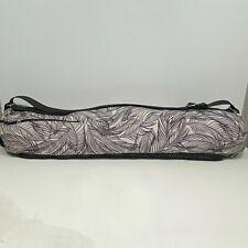 "Lululemon Yoga Mat Bag Shoulder Strap White Purple Fern Print 31""L x 11.5"" Dia"