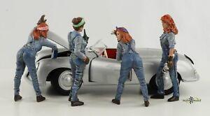 Retro Mechaniker Frau Figur Set 4 Figuren 1:24 American Diorama